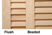 Wooden Shutters Shown with Decorative Beading and Flush