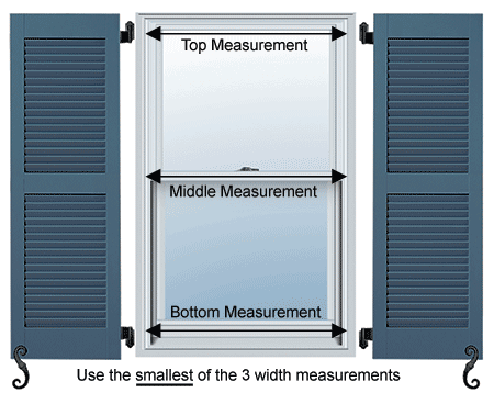 For fully functional shutters, measure your windows at the top, middle, and bottom for the most accurate measurement.