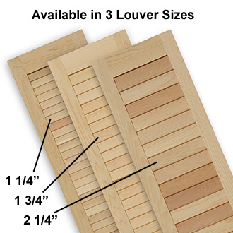 Wide and Narrow Louver Shutters made of Pine, Cedar, Redwood, Cypress, or Mahogany