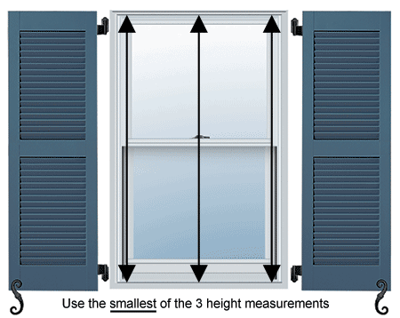 For fully functional shutters, measure your windows at the left, middle, and right for the most accurate window measurement.