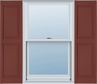Window with Raised Panel Vinyl Shutters from Mid America Building Products