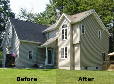 The vinyl siding on this house was restored with Vinyl ReNu and it was also re-shingled.